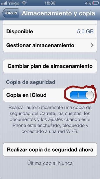 Activar Copia iCloud